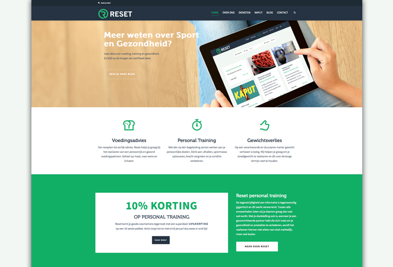 Reset-personal-training-home-page-design